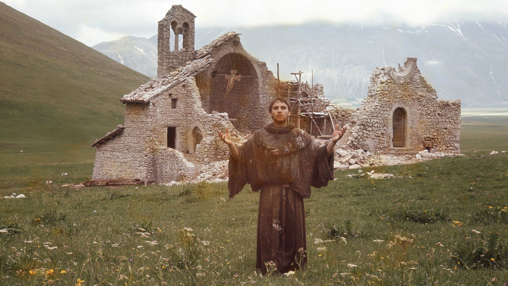 St. Francis (Graham Faulkner) outside the ruins of San Damiano church in Franco Zeferelli's film, 'Brother Sun, Sister Moon' (1972)