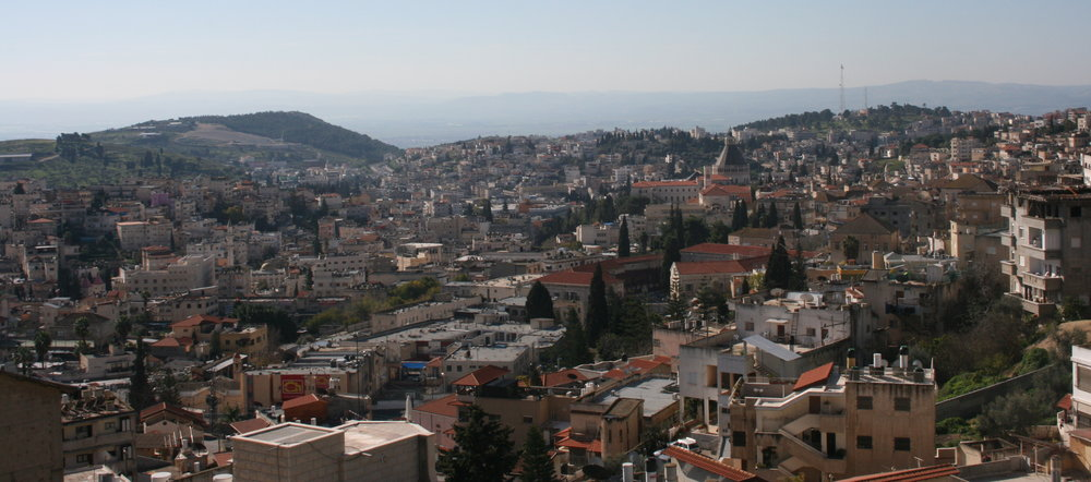 Nazareth with the domed Basilica of the Annunication at the center