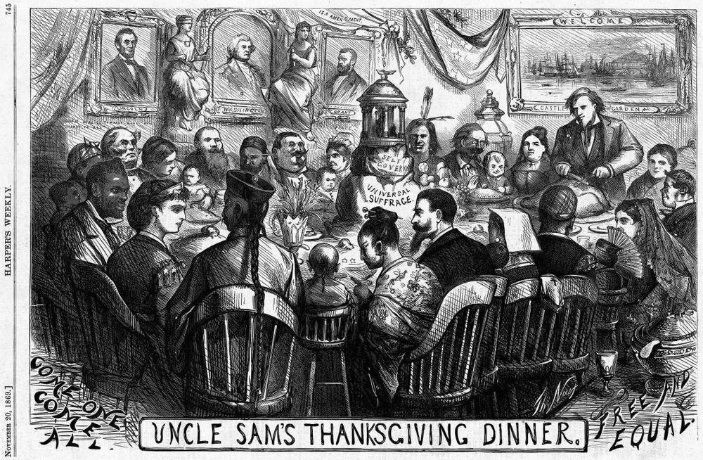 Uncle Sam's Thanksgiving Dinner (November 1869), by Thomas Nast