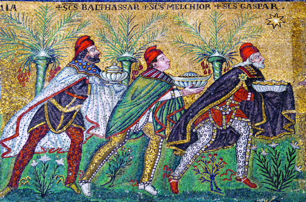 Journey of the Magi, a mosaic in the Basilica Sant'Apollinare Nuovo, Ravenna, c. 6th c.