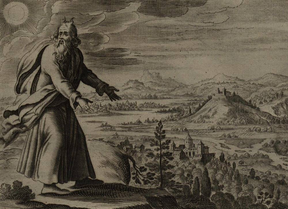 'Moses Views the Promised Land', an engraving by Gerard Jollain from 1670