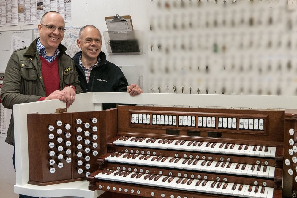 Rector, Fr. Nils Chittenden and Director of Music, James Turner, on a visit to the Peragallo Pipe Organ Co. factory in Paterson, NJ to see the organ being built