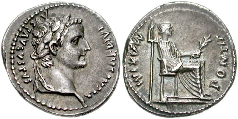 A denarius from the time of Jesus, during the reign of the emperor Tiberius.