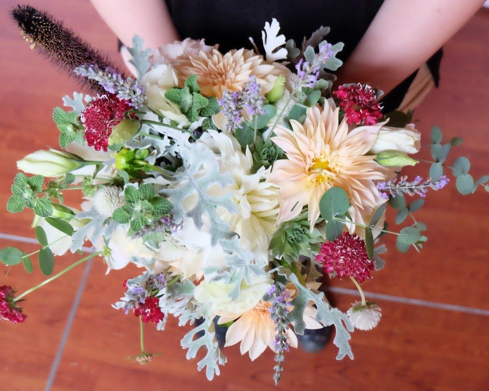 Bridal Bouquet with dahlias, scabiosa, lisianthus, mint