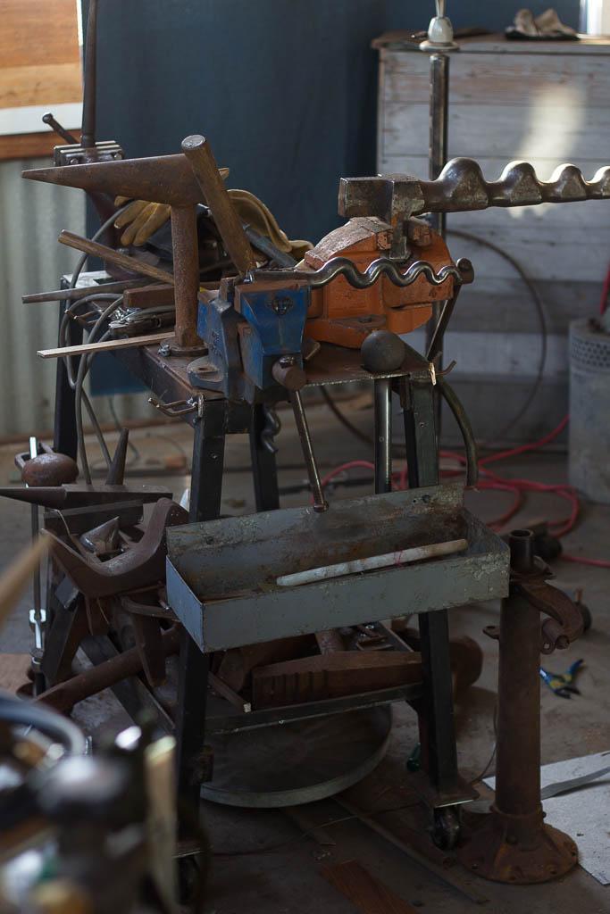 Forming station in Bill Dorman's workshop