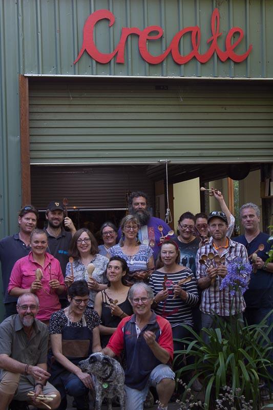 Celebrating spoon carvers outside the Cooroora Institute studios.