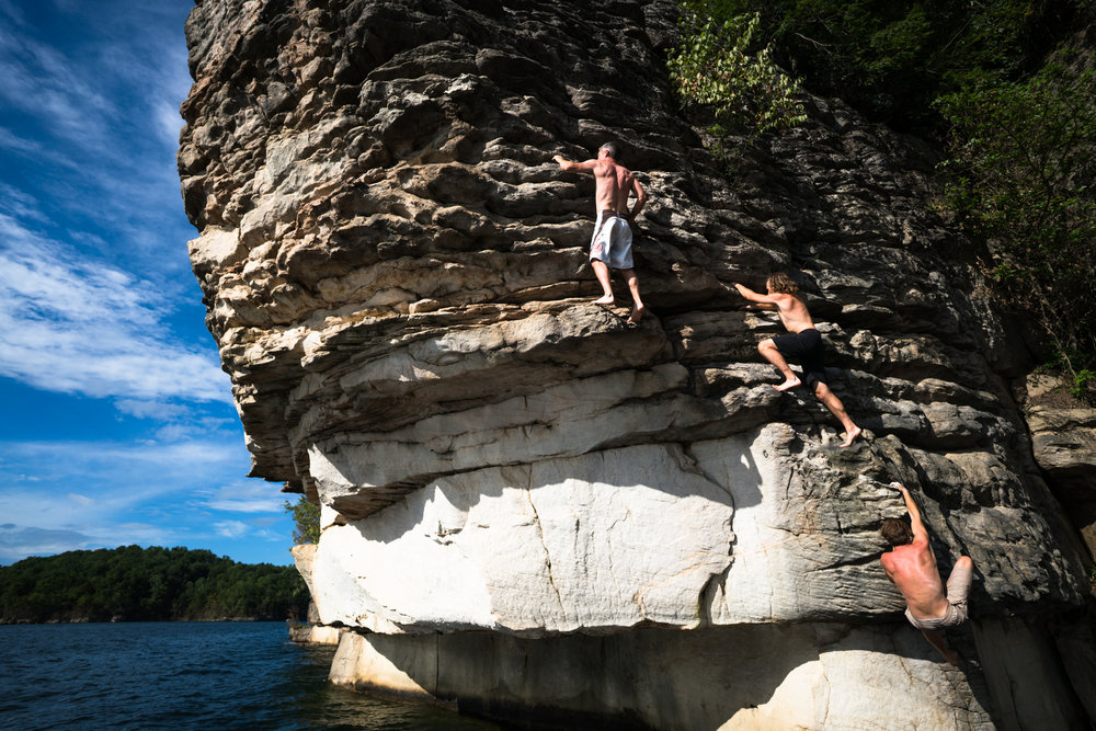 The production Crew for the Summersville Lake DWS comp go for a group climb.