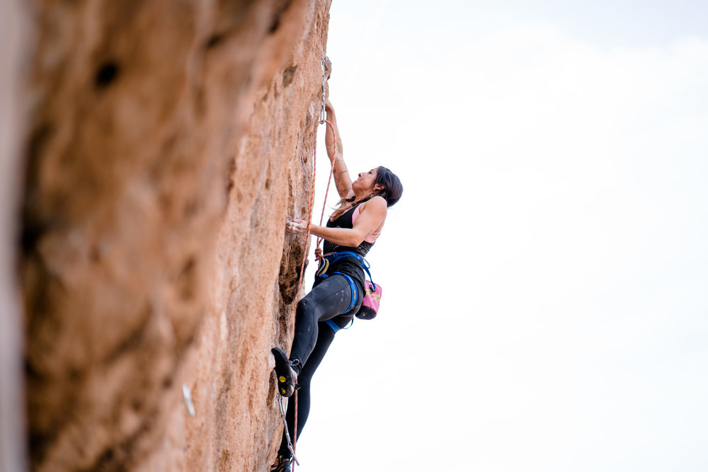 Looking completely zen and relaxed in the crux. Paige De Kock Photo