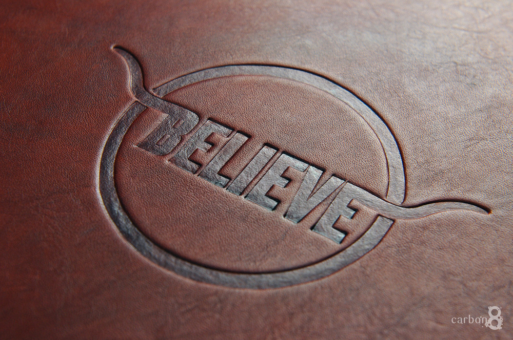 Debossed logo on leather
