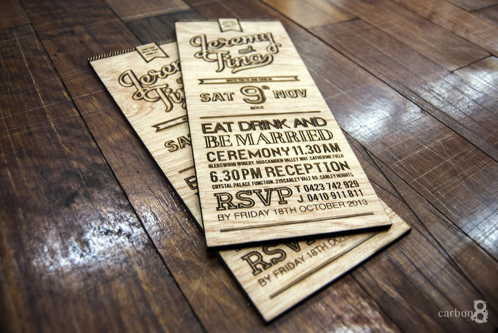 Laser engraved wedding invitations