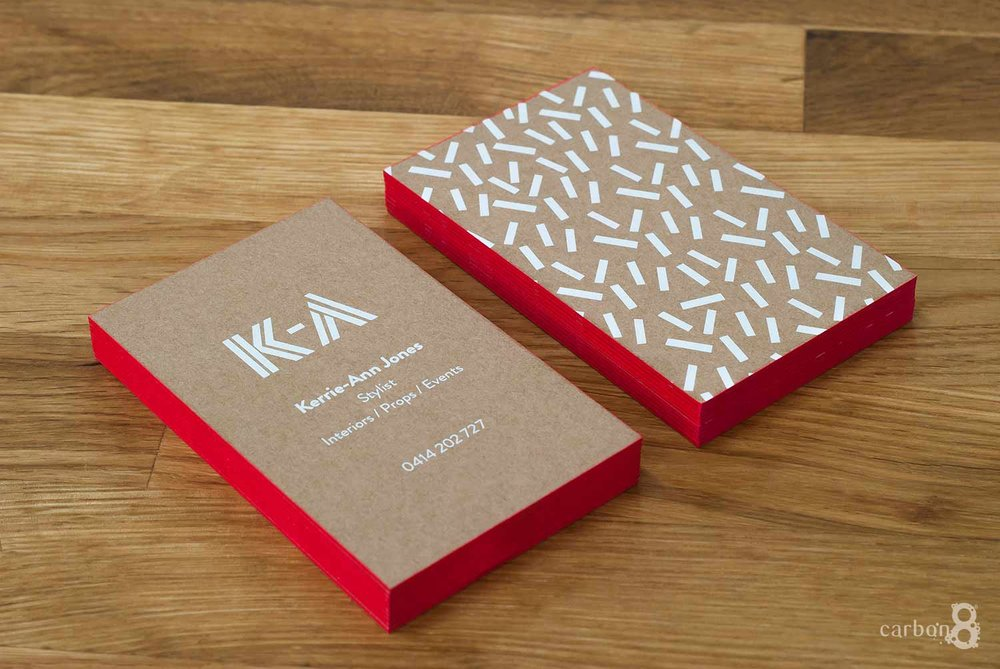 White ink business cards printed for Kerry Anne Jones