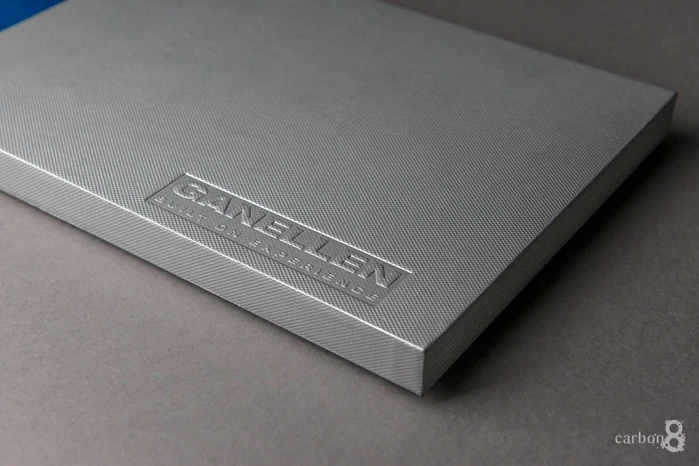 Ganellen case bound pitch book embossing