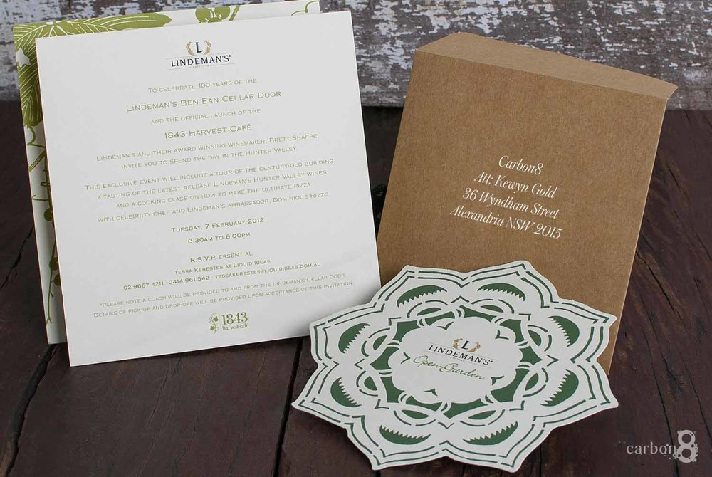 Invitation die cut Linderman's