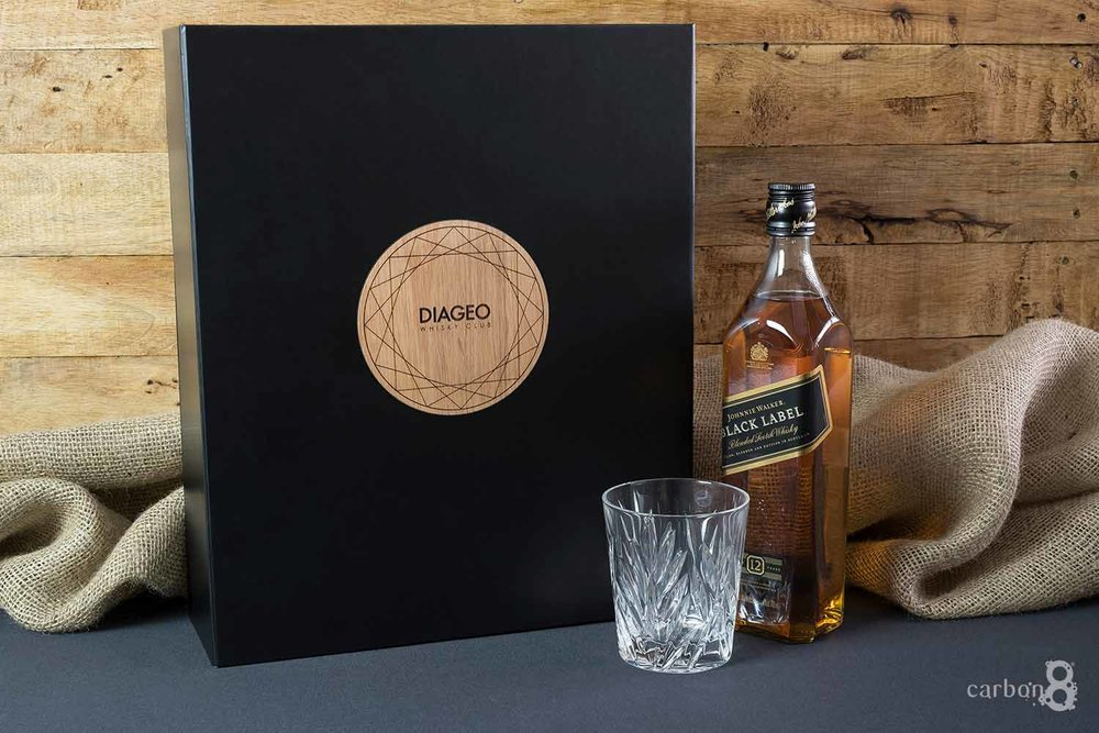 Laser cut box for Diageo Whisky Club outside