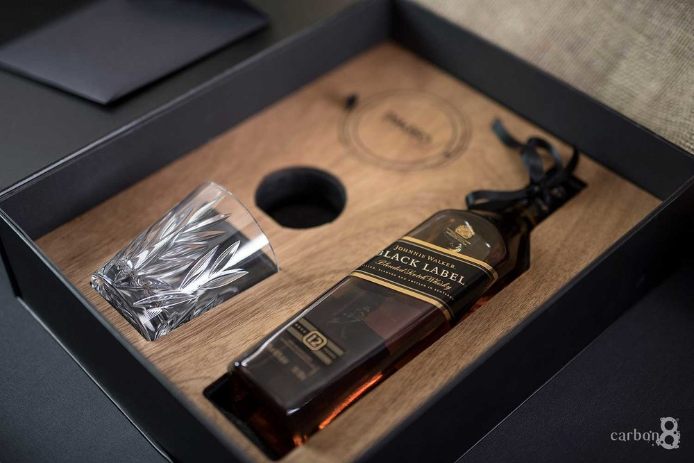 Laser cut box for Diageo Whisky Club inside