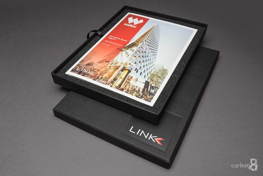 Link Marketing embossed box and book