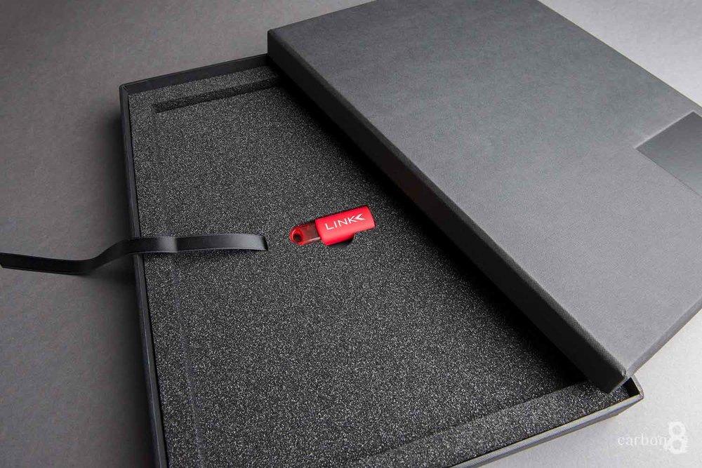 Link Marketing embossed box inside