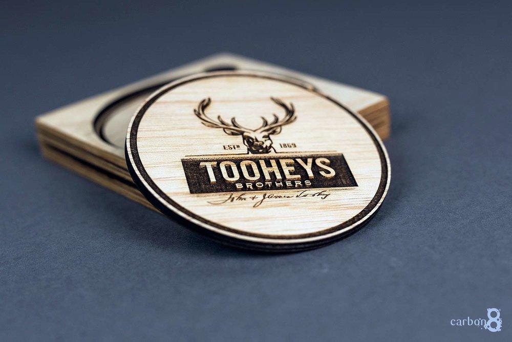 Laser cut coaster Tooheys Brothers