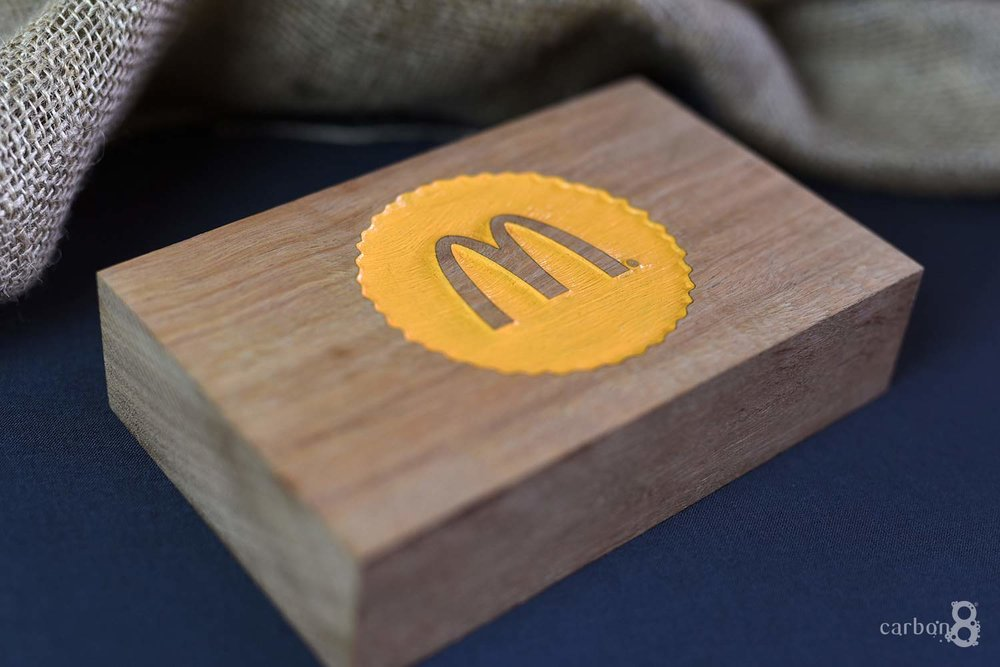 Laser engraved logo for McDonald's
