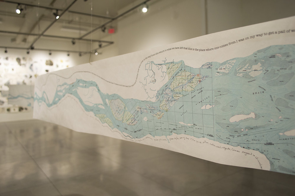 Touchstones Nelson Museum - Poetry Map of Columbia River - Fred Wah & Rita Wong