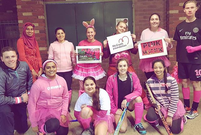 Congrats to 5th grade girls for winning best dressed at our #pinkweek training! #macunihockey #muhc #fabfiths