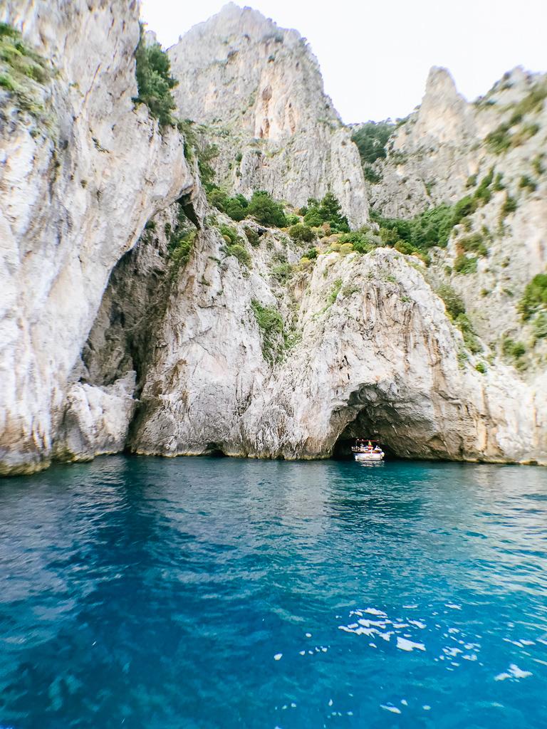 Entering the green grotto in Capri