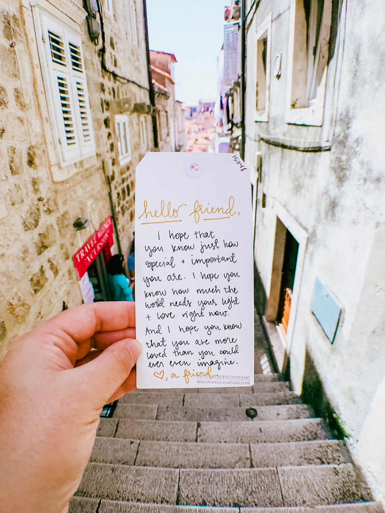 Hiding   @shareloveeverywhere   cards around Old Town Dubrovnik
