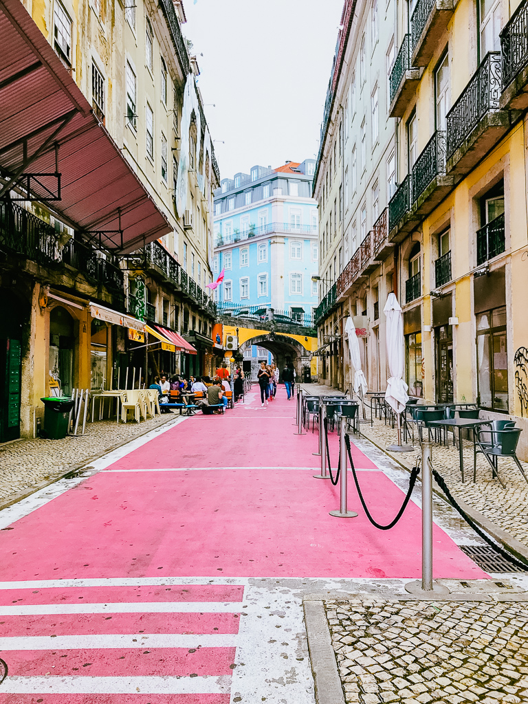 Pink Street in Lisbon, Portugal