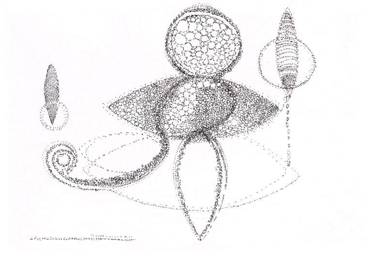 "Untitled, 2009, pen and ink, 7 ½"" x 11"""