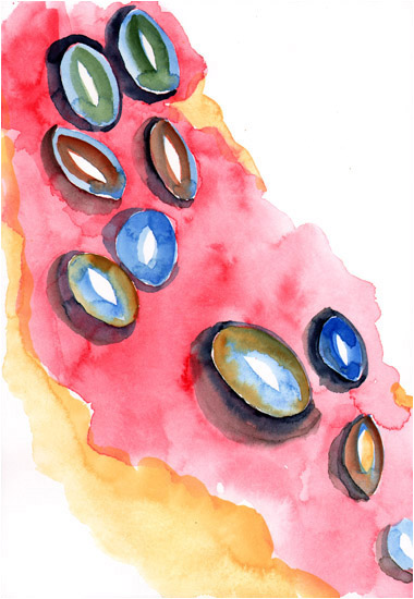 "Untitled, 2009, watercolor, 10 ¼"" x 7"""
