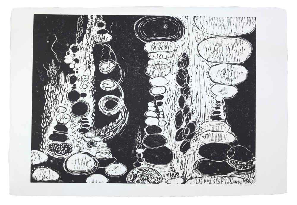 "Untitled   20""x30""   2012   linoleum block print"