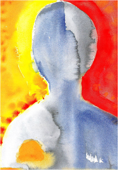 "Head, 2002, watercolor, 14"" x 10 ¼"""