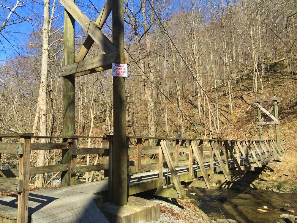 Suspension bridge over Roaring Run Creek