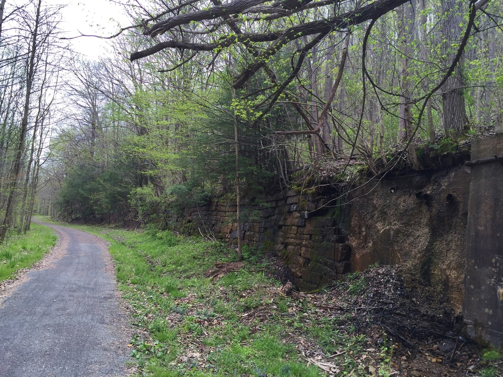 Old stone walls, likely remnants from the coal industry.