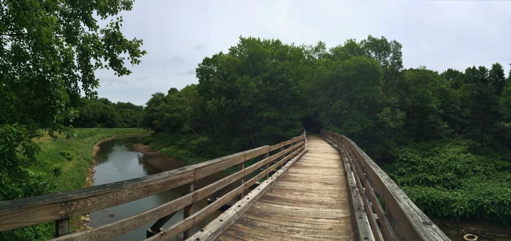 Railroad trestle bridge near the Water Street Trailhead