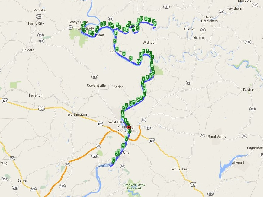 80.31 miles - Map by Cyclemeter