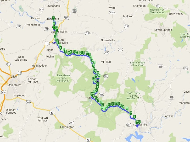 62.69 miles -Map by Cyclemeter