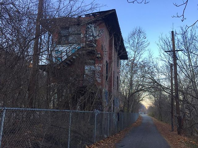 Bid farewell to this old railroad building on the @gap_trail. It's being demolished next week. #greatalleghenypassage #threeriversheritagetrail #bikepgh