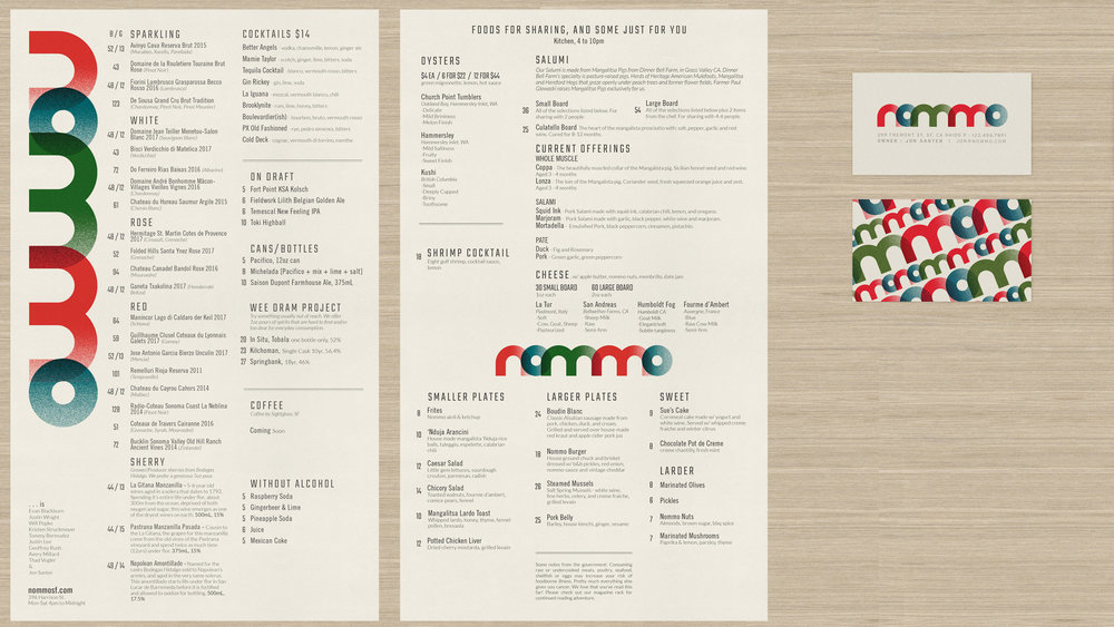 Menu and proposed business card