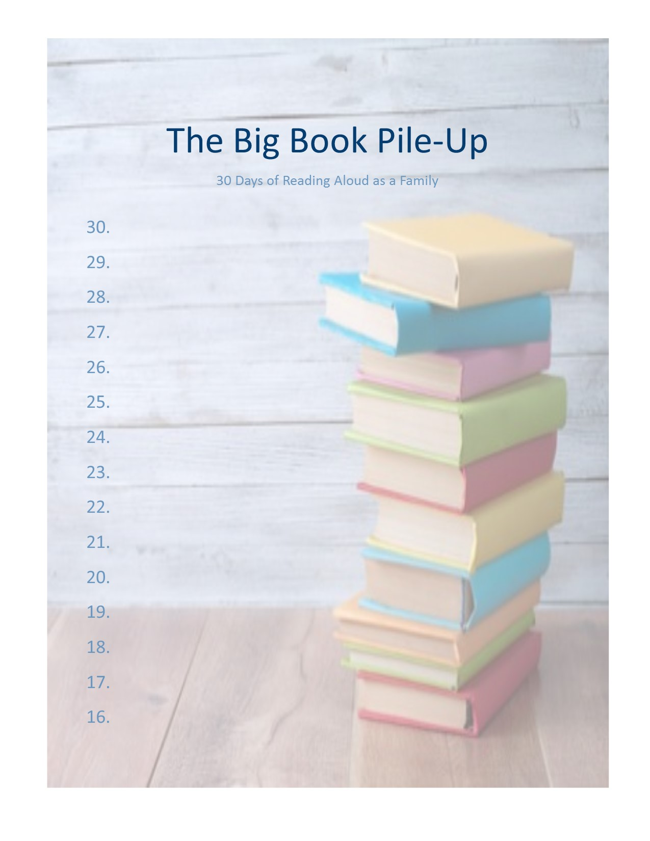 Watch your books pile up as you keep track of the books you read together.  This one is two pages so that there's plenty of room in case you read more than one book on a given day!