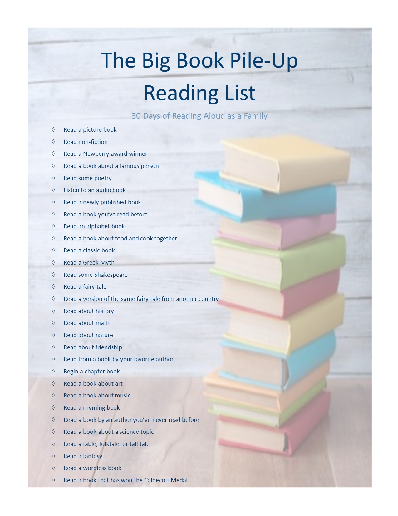big book pile up printable 3