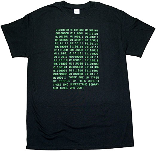 Binary t-shirt :  Is your teen a computer programmer with a sense of humor?  Then this shirt is for them!