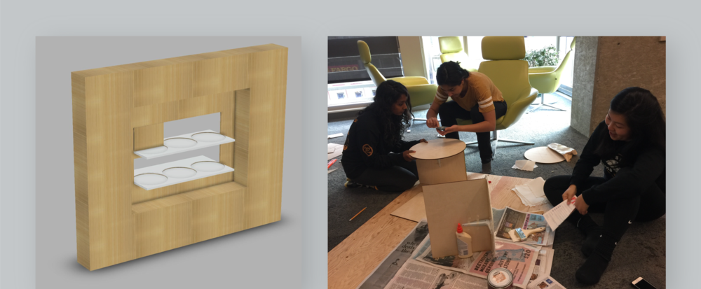 Prototype 2. Left: 3D model, Right: building a plywood and acrylic prototype