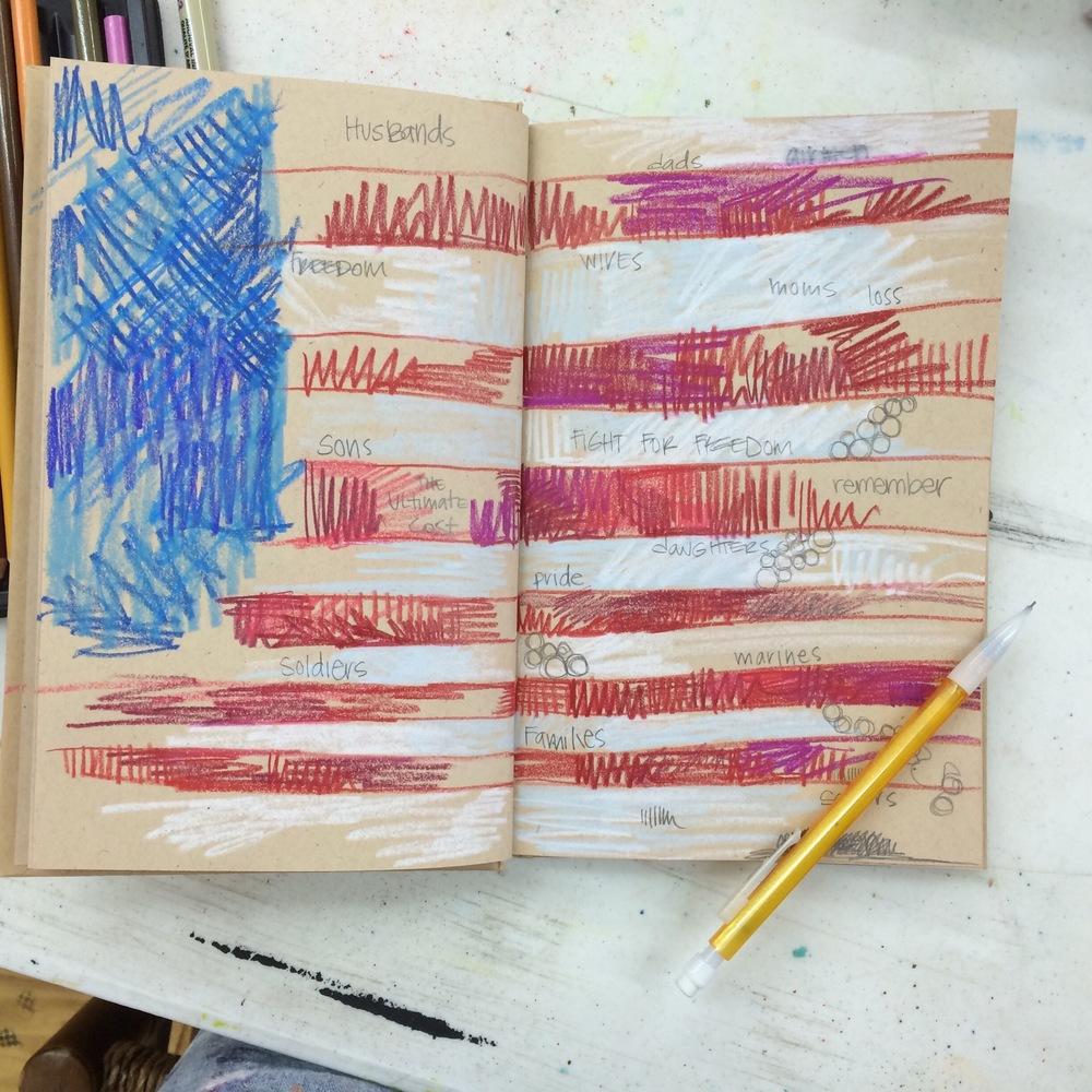 American Flag doodle in my sketchbook.