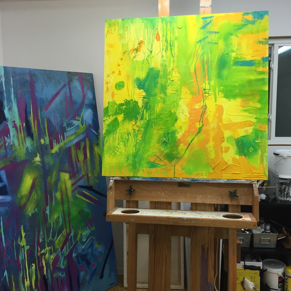 "What's currently on my easel. A 30""x30"" work in progress."