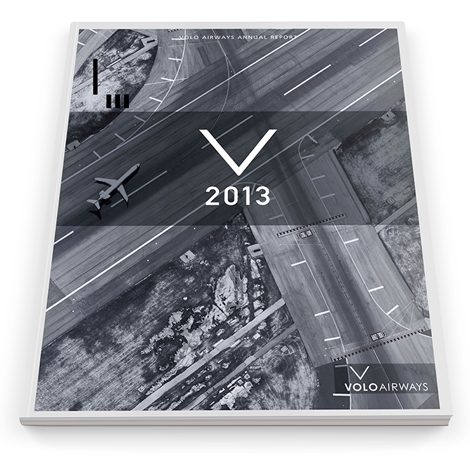 Wes Browne's annual report and typographic poster for Volo Airways