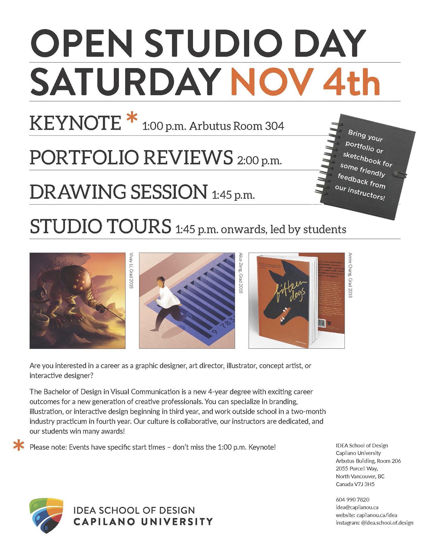 IDEA Open Studio Day | Saturday, Nov 4, 2017 — IDEA School of Design