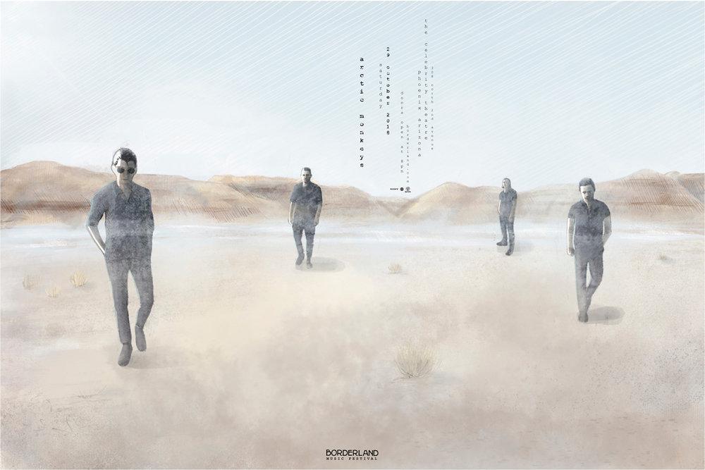 Arctic Monkeys, Borderland Music Festival  - illustrated poster by Jominca Engelbrecht
