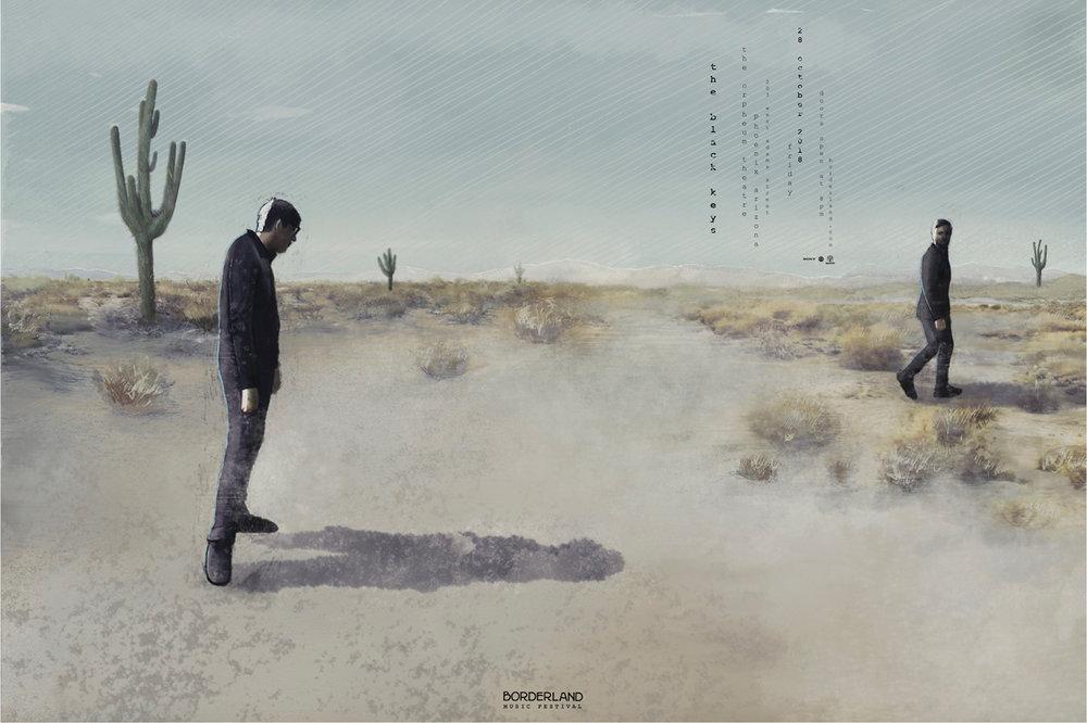 The Black Keys, Borderland Music Festival  - illustrated poster by Jominca Engelbrecht