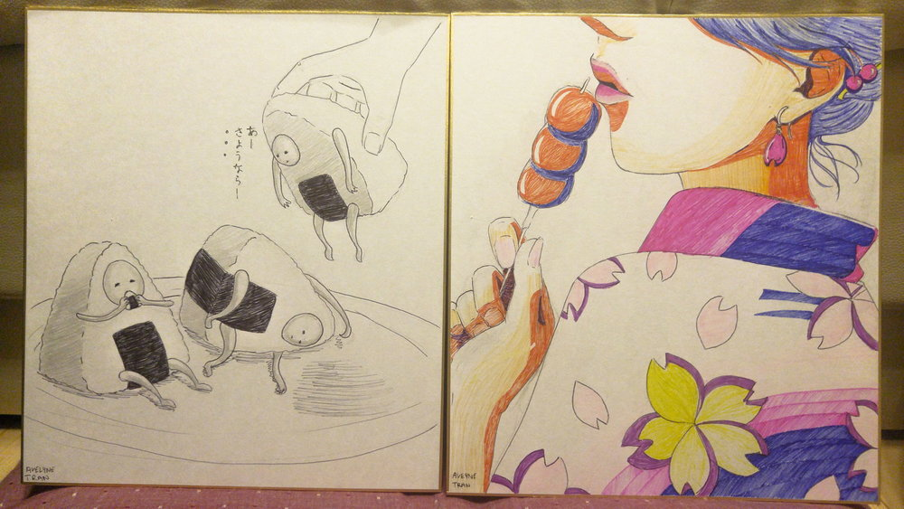 Ink drawing representing hot summer day (left); Illustration using family's markers (right)